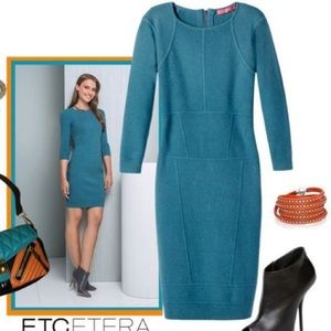 Etcetera, Blue, 3/4 Length Sleeve, Bodycon Dress